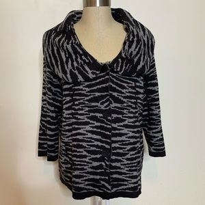 Belk Animal Print 3/4 Sleeve Sweater Jacket